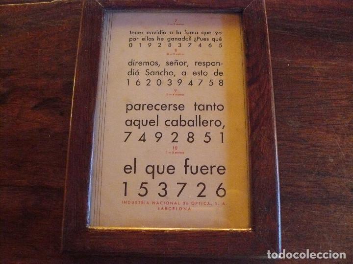 Antigüedades: ANTIGUA TABLA OPTOMÉTRICA - I.N.D.O.- INDUSTRIA NACIONAL DE ÓPTICA, S.A. BARCELONA - Foto 3 - 111591455
