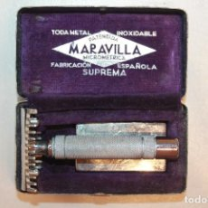 Antigüedades: MAQUINILLA DE AFEITAR MARAVILLA SUPREMA,MICROMÉTRICA, ESPAÑOLA, CON SU ESTUCHE. Lote 111681239