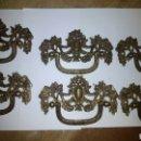 Antigüedades: 6 TIRADORES DE BRONCE 13 CM ANCHO. Lote 111866875