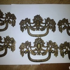 Antigüedades: 6 TIRADORES DE BRONCE HOLANDESES , (DE LA CABRA )13 CM ANCHO. Lote 111866875