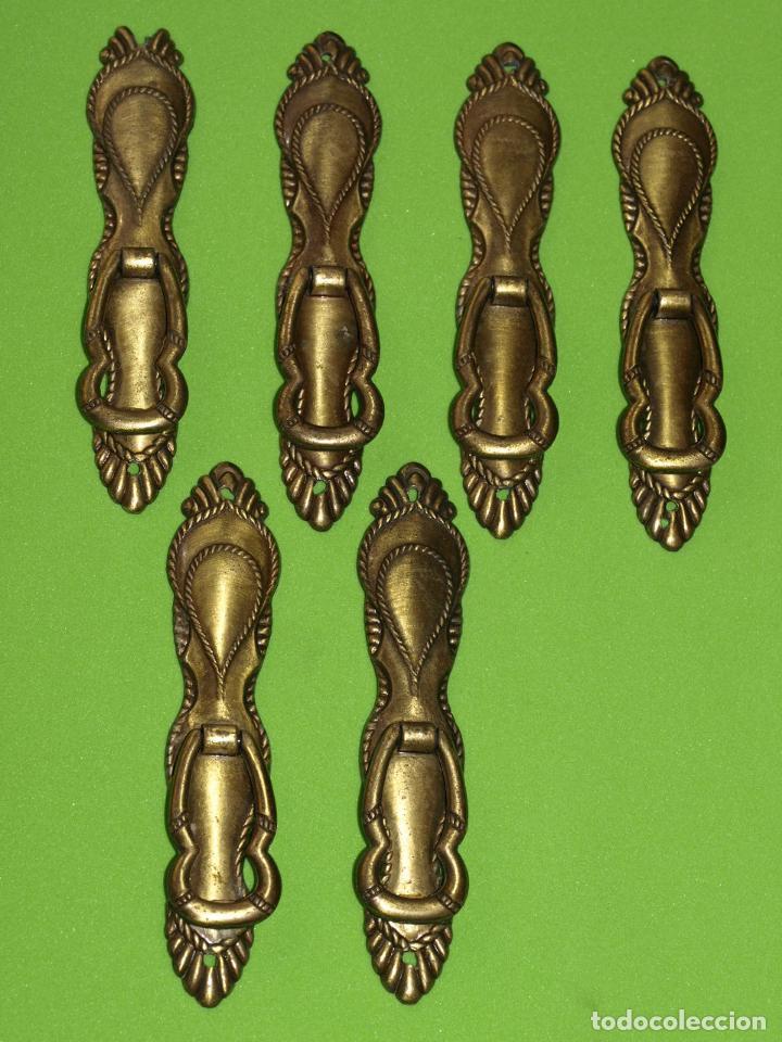 LOTE 6 TIRADORES (LEED DESCRIPCIÓN) (Antigüedades - Técnicas - Cerrajería y Forja - Tiradores Antiguos)