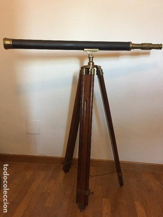 TELESCOPIO ANTIGUO CON TRIPODE (Antigüedades - Técnicas - Instrumentos Ópticos - Catalejos Antiguos)