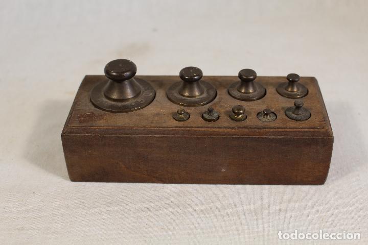 JUEGO DE 9 PESAS - PONDERALES EN BRONCE PESAS EN BRONCE GRABADAS (Antigüedades - Técnicas - Medidas de Peso - Ponderales Antiguos)