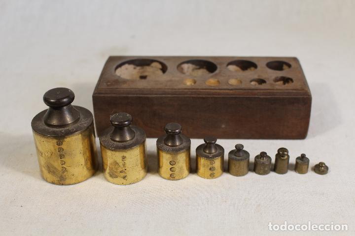 Antigüedades: juego de 9 pesas - ponderales en bronce pesas en bronce grabadas - Foto 5 - 112189623