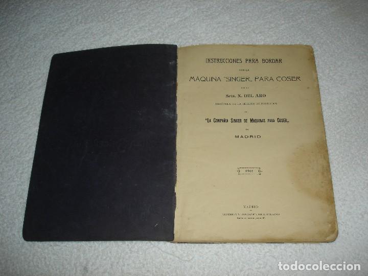 Antigüedades: INSTRUCCIONES PARA BORDAR CON LA MAQUINA SINGER PARA COSER - SRTA DEL ARO 1911 - Foto 2 - 112494015