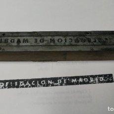 Antigüedades: DELEGACIÓN DE MADRID. ANTIGUO TAMPÓN.SELLO DE IMPRENTA.CUÑO DE MADERA. CLICHÉ.. Lote 112507467