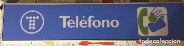 EXCELENTE Y AUTÉNTICO ANTIGUO CARTEL CABINA DE TELÉFONO PÚBLICO TELEFÓNICA, CON MARCO DE ALUMINIO (Antigüedades - Técnicas - Teléfonos Antiguos)