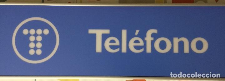 Teléfonos: Excelente y auténtico antiguo cartel cabina de teléfono público Telefónica, con marco de aluminio - Foto 2 - 112681467
