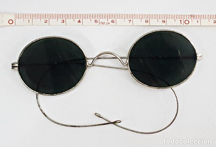 Antigüedades: Gafas de sol antiguas redonda. con cristales negros. - Foto 2 - 112736371