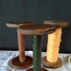 Antigüedades: TRES BOBINAS DE HILO PARA TELAR. Lote 112862022