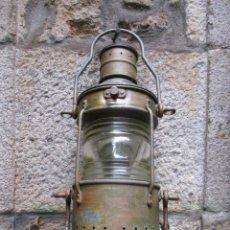 Antigüedades: ANTIGUO FAROL NAUTICO NAVAL 360º, HIERRO GALVANIZADO, VIDRIO DIOPTRICO, PARA QUEMADOR PETROLEO + INF. Lote 112921307