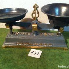 Antigüedades: OTRA PEQUEÑA Y PRECIOSA BALANZA DE 2 KG CON 2 PLATOS DE ESTAÑO? (BM 03). Lote 113033275