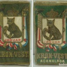 Antigüedades: 2X ANTIGUA CAJA HOJAS DE AFEITAR - KRON-VEST Y ACANALADA ¡¡PRECINTADAS¡¡ HOJA CUCHILLAS JAGUAR. Lote 113050423