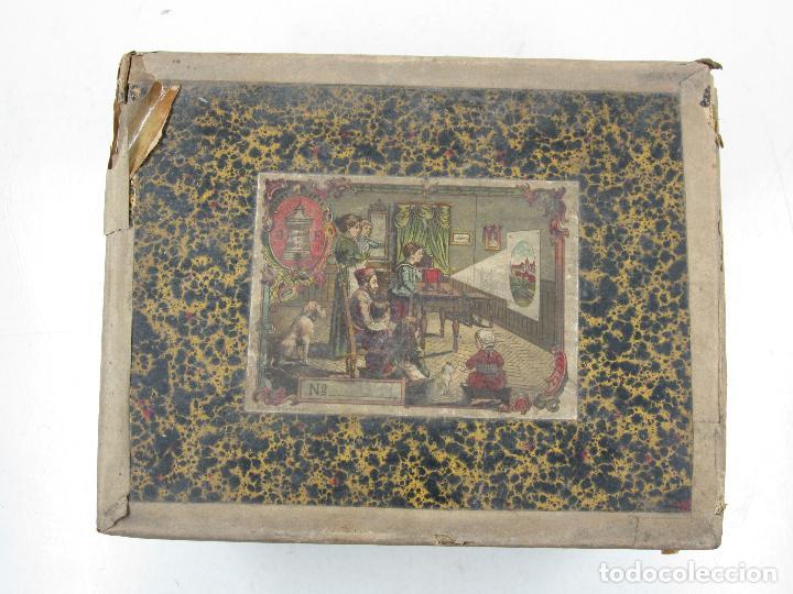 Antigüedades: caja y cristales de Linterna mágica, finales del siglo XIX principios del XX. 24,5x20x11cm - Foto 4 - 113156987