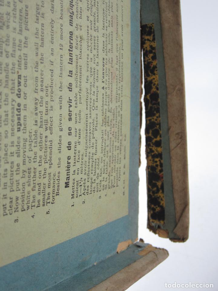 Antigüedades: caja y cristales de Linterna mágica, finales del siglo XIX principios del XX. 24,5x20x11cm - Foto 6 - 113156987