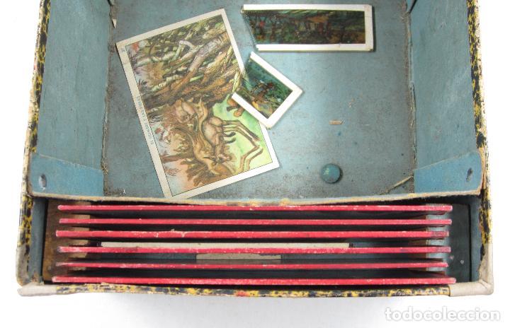 Antigüedades: caja y cristales de Linterna mágica, finales del siglo XIX principios del XX. 24,5x20x11cm - Foto 8 - 113156987