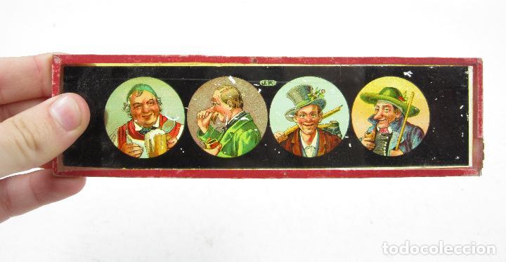 Antigüedades: caja y cristales de Linterna mágica, finales del siglo XIX principios del XX. 24,5x20x11cm - Foto 9 - 113156987