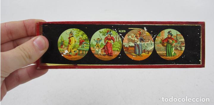 Antigüedades: caja y cristales de Linterna mágica, finales del siglo XIX principios del XX. 24,5x20x11cm - Foto 10 - 113156987
