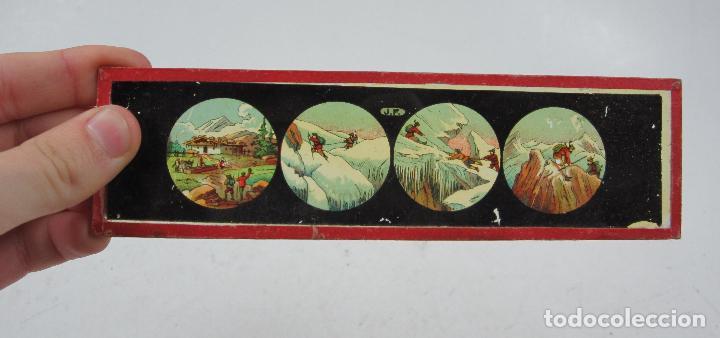 Antigüedades: caja y cristales de Linterna mágica, finales del siglo XIX principios del XX. 24,5x20x11cm - Foto 11 - 113156987
