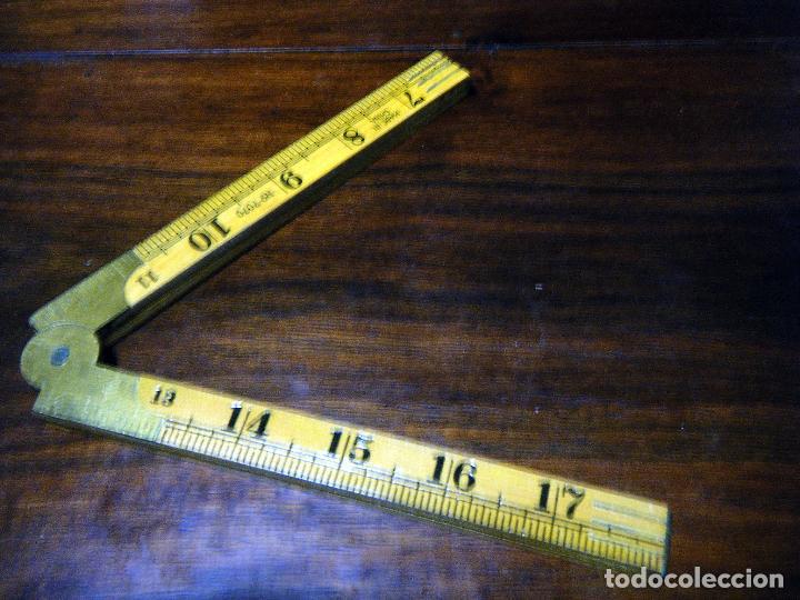 Antigüedades: Antiguo y Curioso metro inglés, centímetros y pulgadas Made in China - Foto 7 - 113204995