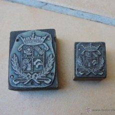 Antigüedades: ANTIGUOS SELLOS / TAMPÓN CLICHÉ O PLANCHA IMPRENTA / CUÑO MADERA FUNDICIÓN MARCA GALVAN. Lote 113366667