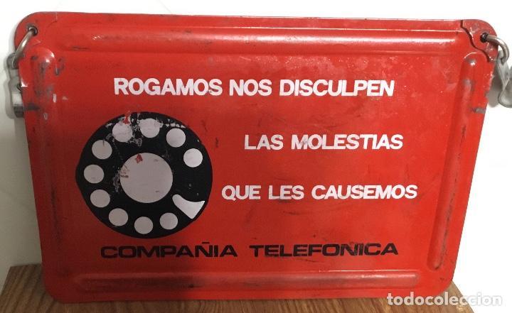 Teléfonos: Cartel o chapa de señalización de trabajos en la red telefónica - Foto 2 - 113375875
