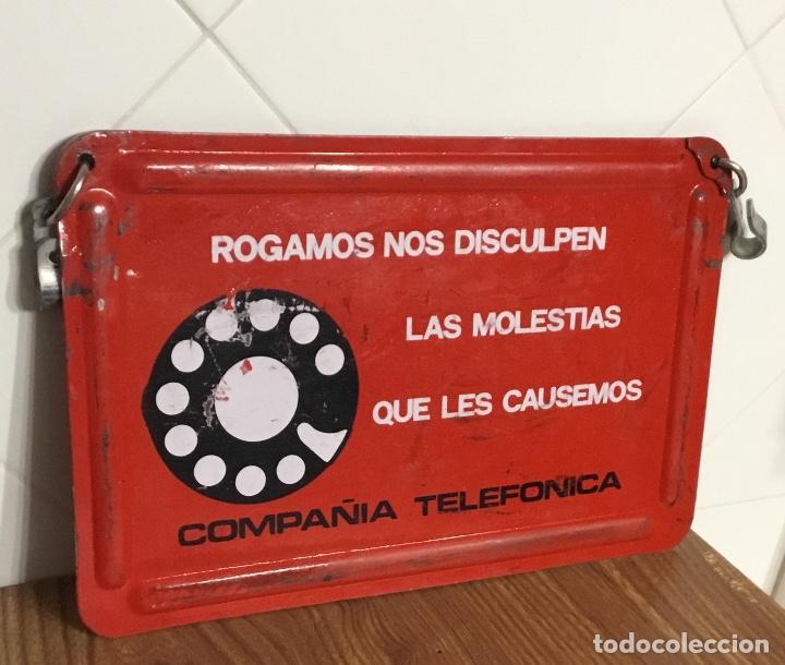 Teléfonos: Cartel o chapa de señalización de trabajos en la red telefónica - Foto 3 - 113375875