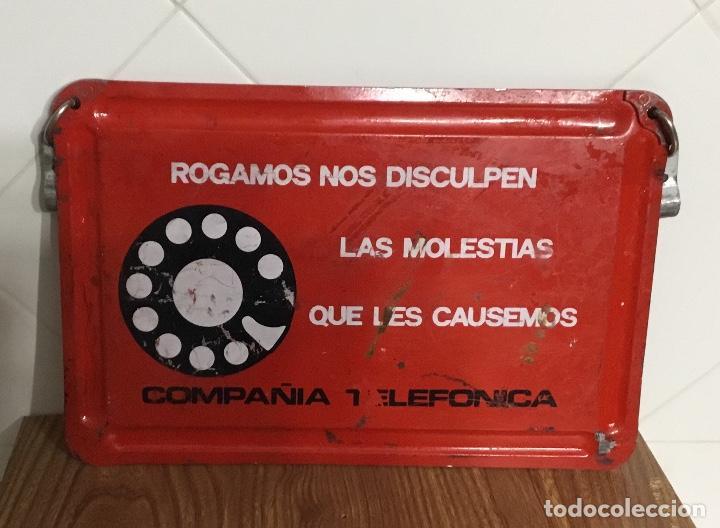 Teléfonos: Cartel o chapa de señalización de trabajos en la red telefónica - Foto 5 - 113375875