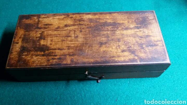 Antigüedades: Caja juego pesas antiguas ponderales balanza marca dr - Foto 8 - 113461171