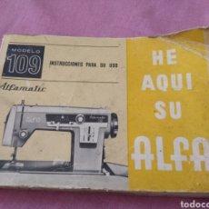 Antigüedades: INSTRUCCIONES MAQUINA DE COSER ALFA 109. Lote 113480508