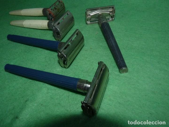 Antigüedades: Raro lote maquinilla afeitar Gillette Slim twist Nack G1000 original colección barba barbero - Foto 2 - 87677508