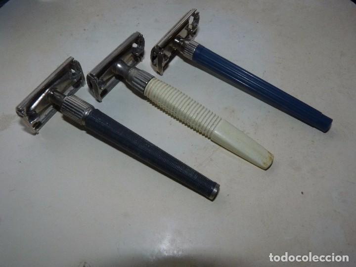 Antigüedades: Raro lote maquinilla afeitar Gillette Slim twist Nack G1000 original colección barba barbero - Foto 3 - 87677508