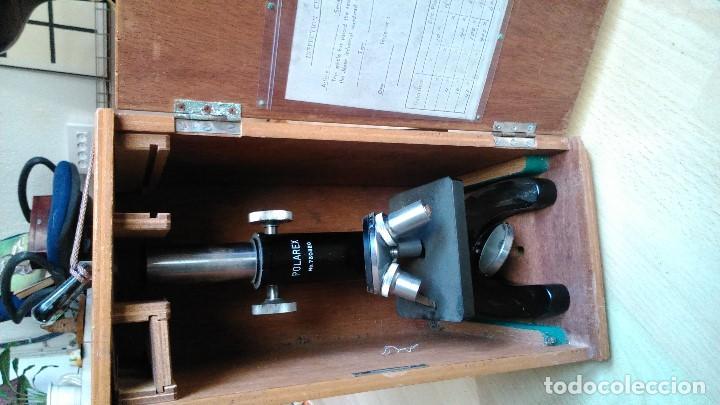 EXTRAORDINARIO MICROSCOPIO PROFESIONAL POLAREX CON CAJA DE FÁBRICA POR SÓLO NOVENTA EUROS (Antigüedades - Técnicas - Instrumentos Ópticos - Microscopios Antiguos)