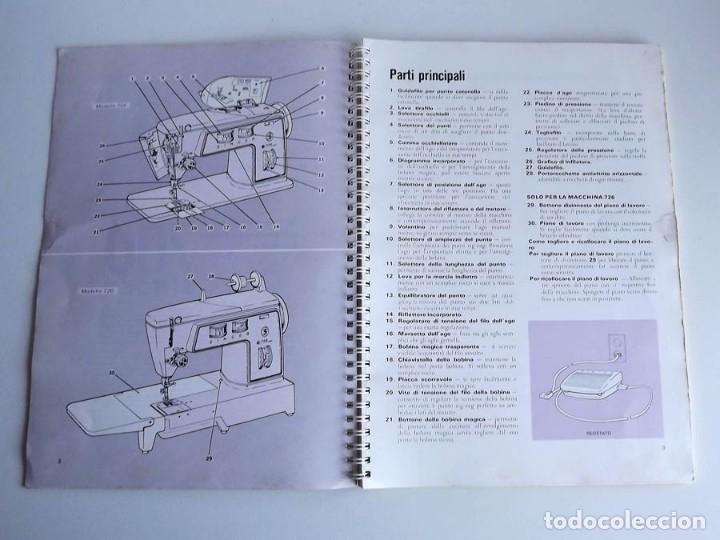 Antigüedades: Manual máquina de coser Singer 706 y 726. Tamaño 30 x 21 cm. En italiano. 84 páginas - Foto 2 - 54372385
