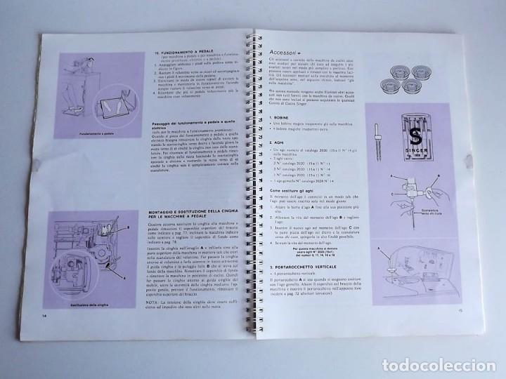 Antigüedades: Manual máquina de coser Singer 706 y 726. Tamaño 30 x 21 cm. En italiano. 84 páginas - Foto 3 - 54372385