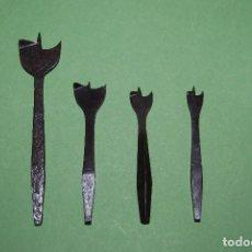 Antigüedades: CUATRO BROCAS DE HIERRO PARA MADERA- TALADRO - PRINCIPIOS S.XX. Lote 113967003