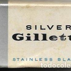 Antigüedades: == H03 - SILVER GILLETTE - STAINLESS BLADES - ESTUCHE CON 3 CUCHILLAS. Lote 114008603
