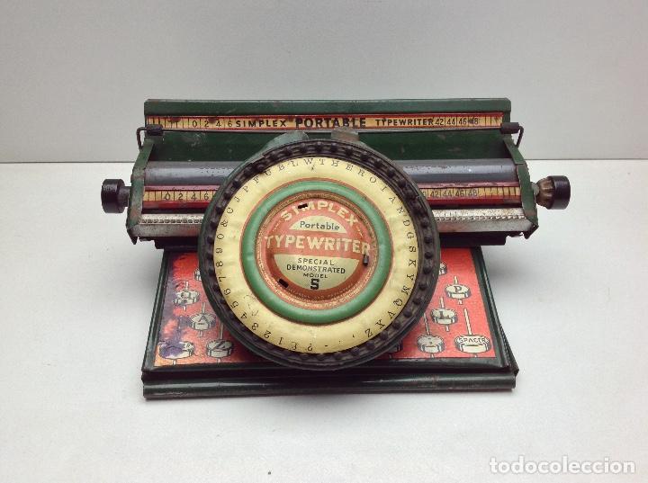 MAQUINA DE ESCRIBIR ANTIGUA DE HOJALATA SIMPLEX TYPE WRITER SPECIAL DEMONSTRATED - MODEL S - U.S.A. (Antigüedades - Técnicas - Máquinas de Escribir Antiguas - Otras)
