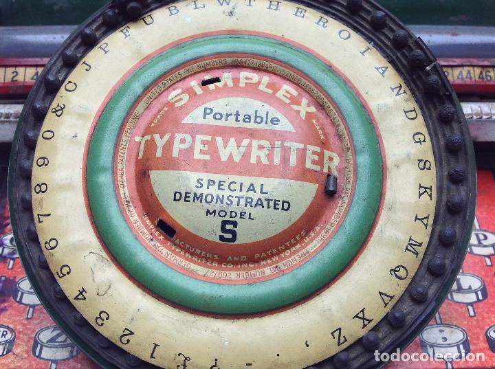 Antigüedades: MAQUINA DE ESCRIBIR ANTIGUA DE HOJALATA SIMPLEX TYPE WRITER SPECIAL DEMONSTRATED - MODEL S - U.S.A. - Foto 2 - 114363295