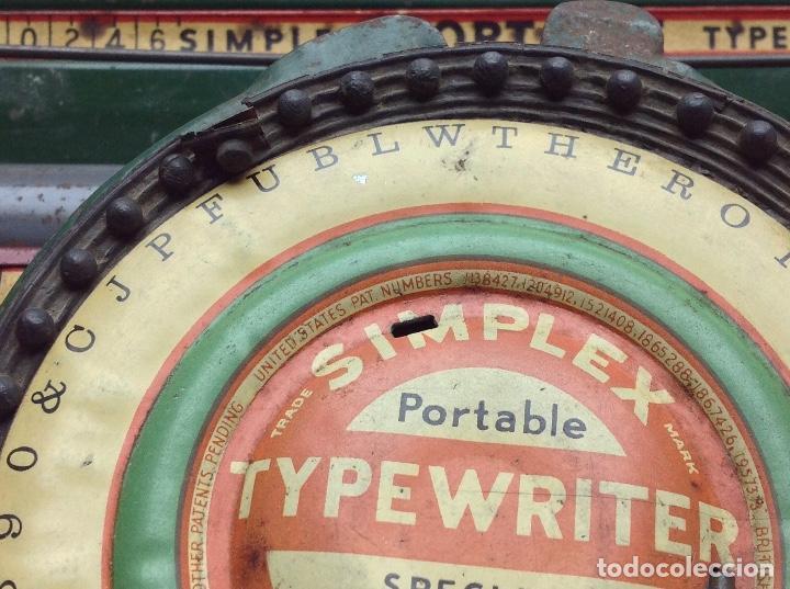 Antigüedades: MAQUINA DE ESCRIBIR ANTIGUA DE HOJALATA SIMPLEX TYPE WRITER SPECIAL DEMONSTRATED - MODEL S - U.S.A. - Foto 3 - 114363295
