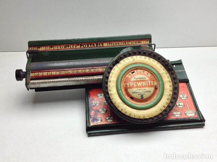 Antigüedades: MAQUINA DE ESCRIBIR ANTIGUA DE HOJALATA SIMPLEX TYPE WRITER SPECIAL DEMONSTRATED - MODEL S - U.S.A. - Foto 10 - 114363295