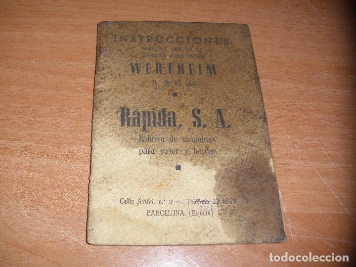 INSTRUCCIONES PARA LA MAQUINA DE COSER WERTHEIM R.B.C. 43 - 36 PAGINAS (Antigüedades - Técnicas - Máquinas de Coser Antiguas - Wertheim )