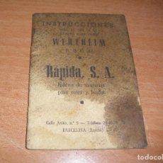Antigüedades: INSTRUCCIONES PARA LA MAQUINA DE COSER WERTHEIM R.B.C. 43 - 36 PAGINAS. Lote 114432163