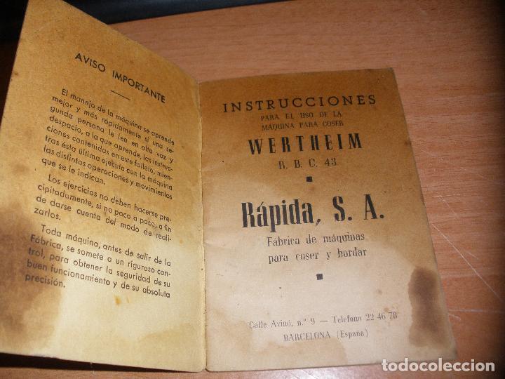 Antigüedades: INSTRUCCIONES PARA LA MAQUINA DE COSER WERTHEIM R.B.C. 43 - 36 PAGINAS - Foto 2 - 114432163
