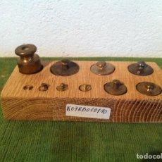 Antigüedades: BONITO TACO DE 10 ANTIGUS PESAS DE BRONCE DESDE 1G A 100G (K07). Lote 114454303