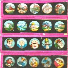 Antigüedades: 680-SERIE 6 PLACAS EN VIDRIO CON FOTOGRAMAS PARA VER CINE EN LINTERNA MÁGICA,FABRICADAS EN ALEMANIA. Lote 114728151