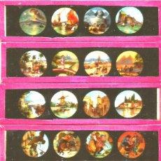 Antigüedades: 685-SERIE 6 PLACAS EN VIDRIO CON FOTOGRAMAS PARA VER CINE EN LINTERNA MÁGICA,FABRICADAS EN ALEMANIA. Lote 114728303