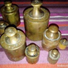 Antigüedades: ANTIGUO JUEGO DE 7 PESAS 5,1 KGS MEDIDAS ENTRE 1 KG Y 50 GRS.. Lote 114969211