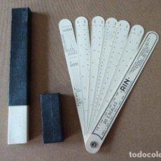 Antigüedades: REGLAS DE CALCULO EN ABANICO RIN. 20 ESCALAS. CON SU ESTUCHE.. Lote 114971211
