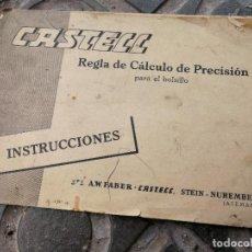 Antigüedades: INSTRUCCIONES DE LA REGLA DE CÁLCULO A.W. FABER- CASTELL. PARA EL BOLSILLO, EN CASTELLANO.. Lote 115008903